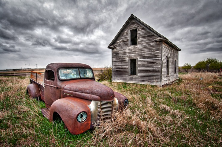 Abandoned Farmhouse and Truck